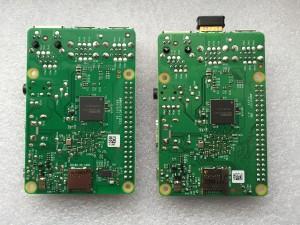 Raspberry Pi 3 (links) und Raspberry Pi 2 (rechts)