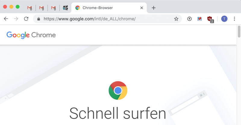Chrome: Angeheftete Tabs