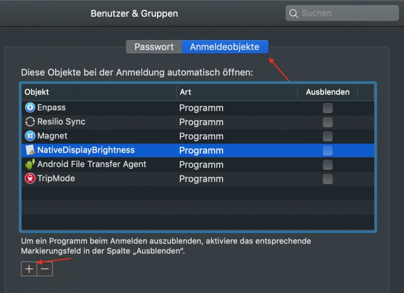 macOS: Anmeldeobjekte verwalten
