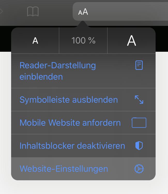 iOS 13: Safari Webseite Einstellungen